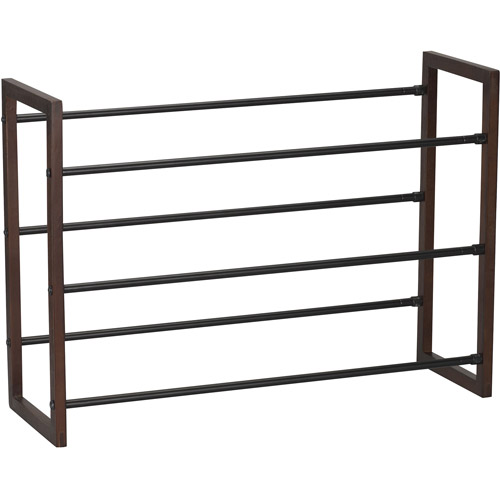 Household Essentials 2120-1 3-Tier Expandable Shoe Rack-Black Rods-Mahoganey