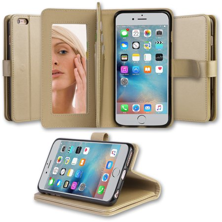 check out c41c1 02587 Abacus24-7 iPhone 6 Plus 6S Plus Case [Mirror Wallet] with Credit Card  Holders, Gold
