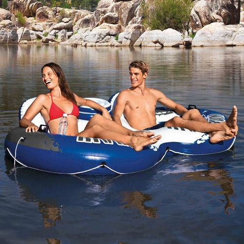 "Intex Inflatable River Run II Double Seater Pool Lounge, 95.5"" x 62"""