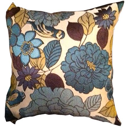 Better homes and gardens patio floral birds pillow blue - Better homes and gardens pillows ...