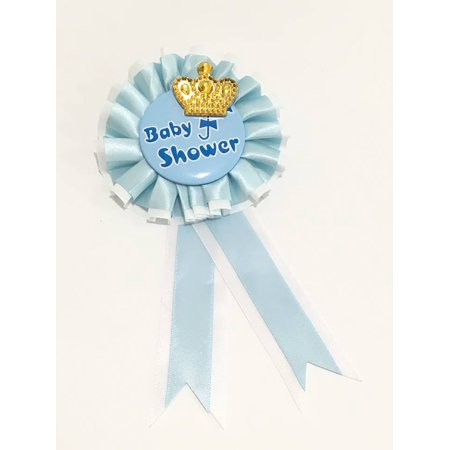 Baby Shower Mother To Be Prince Badge Corsage Keepsake Gift A blue and white badge accented with a blue and white ribbon in the center of the badge adorned with a prince crown. This adorable badge makes an amazing gift for the new Mother to Be.