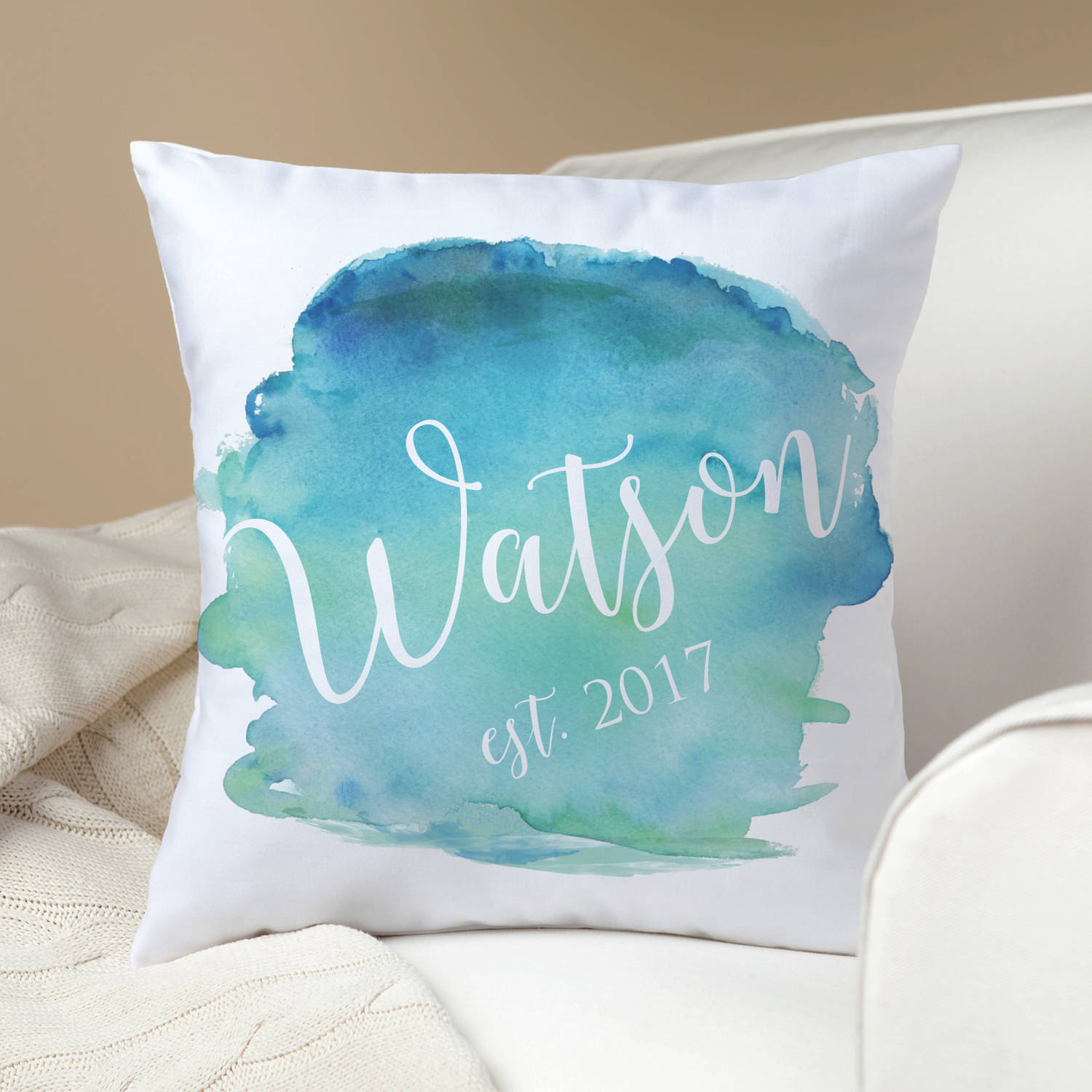 Personalized Throw Pillow - Family Name Splash