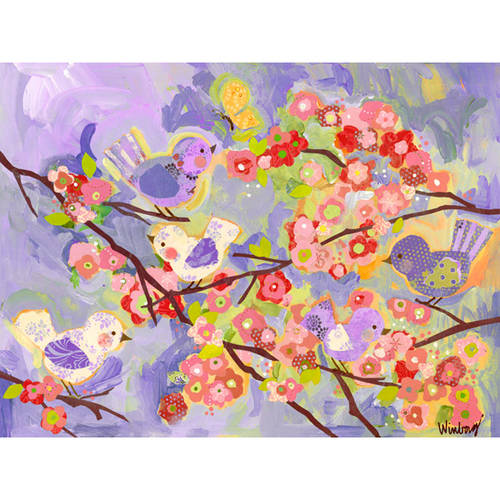 Oopsy Daisy's Cherry Blossom Birdies Lavender & Coral Canvas Wall Art, 24x18