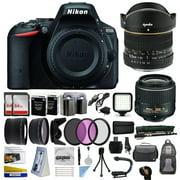 Nikon D5500 DSLR Digital Camera with 18-55mm Lens + 6.5mm Fisheye Lens + 128GB Memory + (2) Batteries + Charger + Video Light + Monopod + Backpack + Case + 3 Filters + Grip Action Handle + Tripod