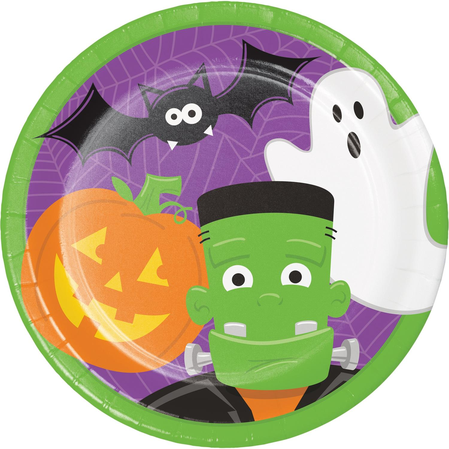 """Pack of 96 Green Halloween Characters Disposable Party Luncheon Plate 8.75"""""""