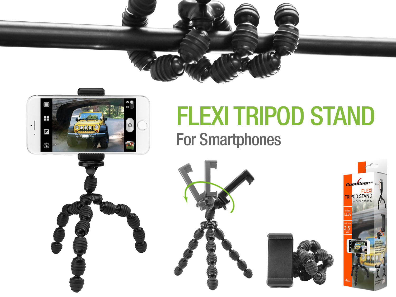 CyonGear Flexible Tripod Stand, Durable, Portable And Adjustable Tripod  Stand With Rubberized Grips For