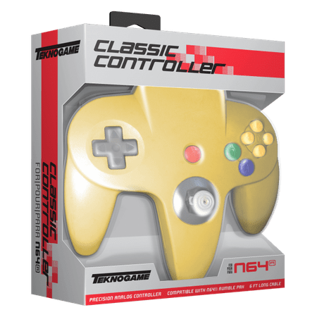 TeknoGame N64 Wired Game Controller Yellow for Nintendo 64 System ()