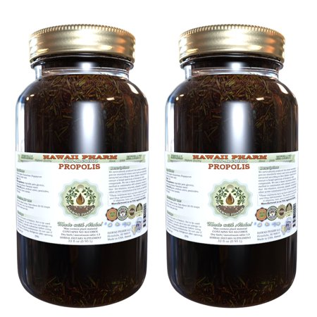 Propolis Glycerite, Raw and Unprocessed Alcohol-Free Liquid Extract, Feng  Jiao, Glycerite Herbal Supplement 2x32 oz