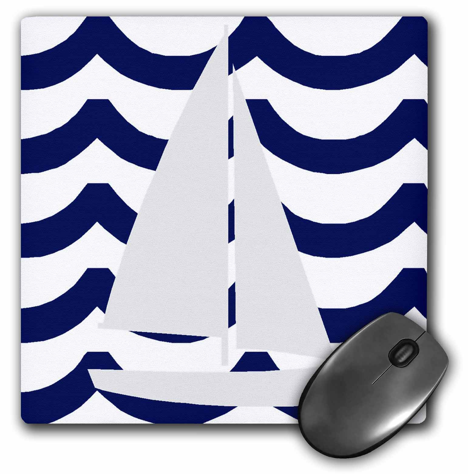 3dRose White Toy Sailboat On Blue Waves, Mouse Pad, 8 by 8 inches by 3dRose