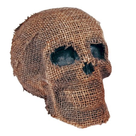 Fun World Burlap Halloween Skull with Jaw Table Decoration, 7