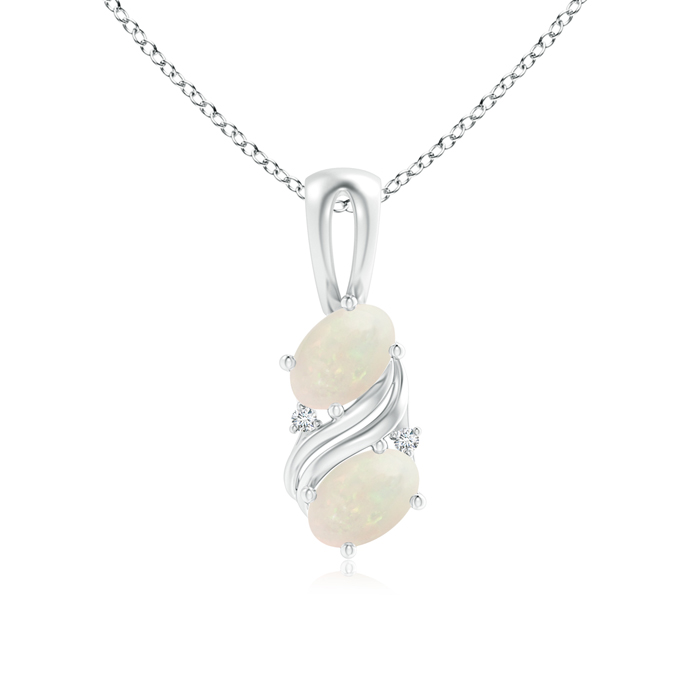 Mother's Day Jewelry Necklace Two Stone Oval Shaped Opal Swirl Pendant in 950 Platinum (6x4mm Opal) SP1023OPD-PT-A-6x4 by Angara.com