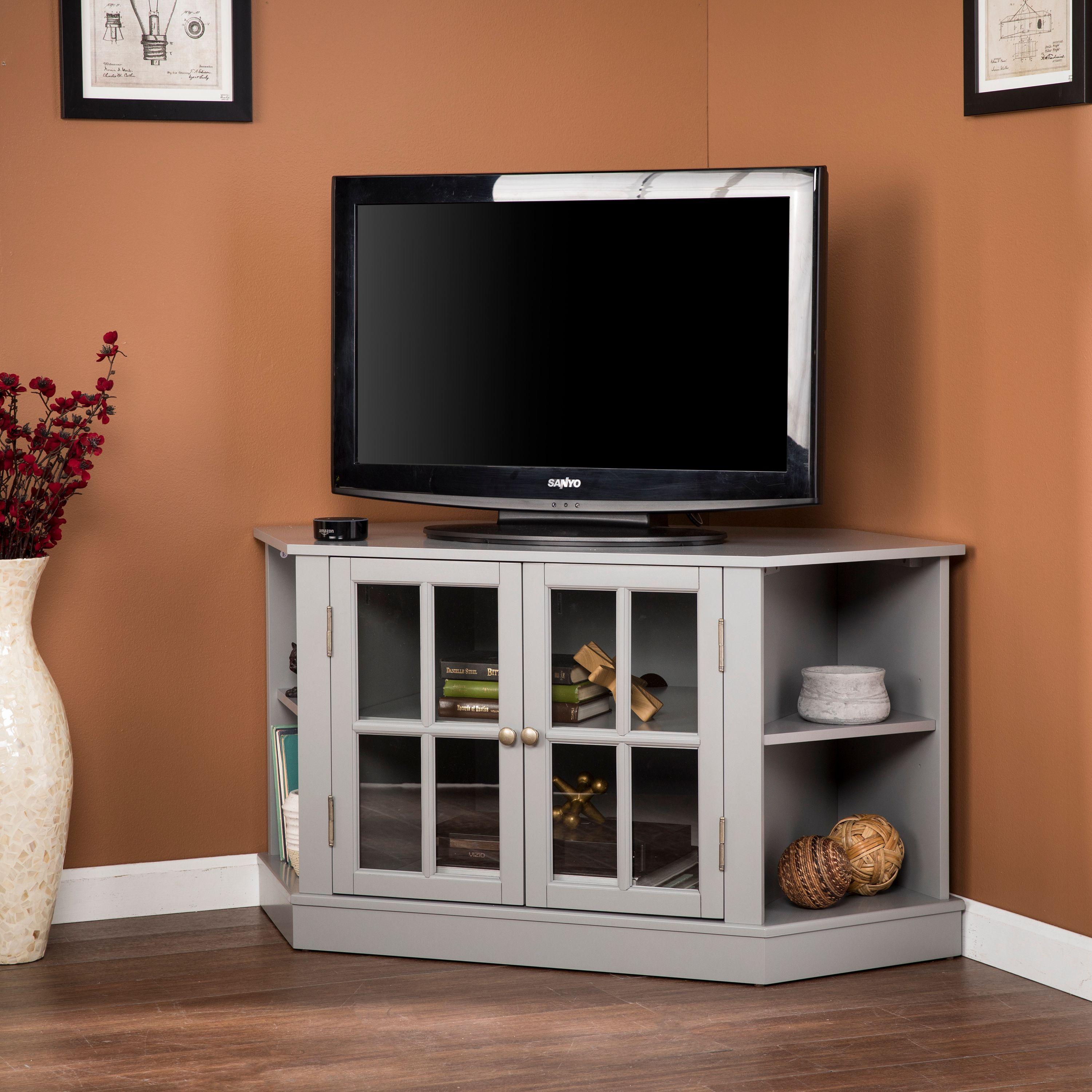 "Southern Enterprises Antlers Corner Media Stand, for TVs up to 42"", Gray"