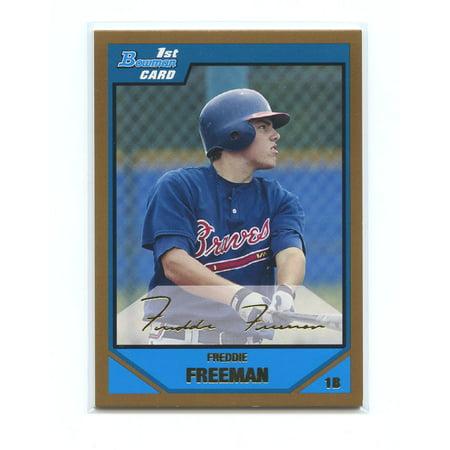 2007 Bowman Draft Picks & Prospects Gold #BDPP12 Freddie Freeman Rookie Card 2007 Bowman Gold Rookie Card