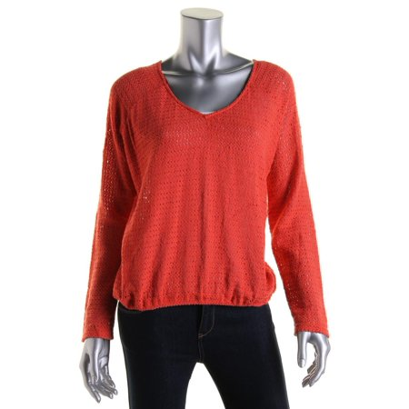 Sanctuary Womens Crochet V-Neck Casual Top Crochet Trim V-neck Top