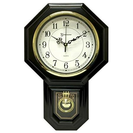 Timekeeper Essex Westminster Chime Faux Wood Pendulum Wall Clock - Urban Mod, Black ( 17.5 Inch x 11.25 Inch (Westminster Chime Wall Clock With Pendulum Movement)