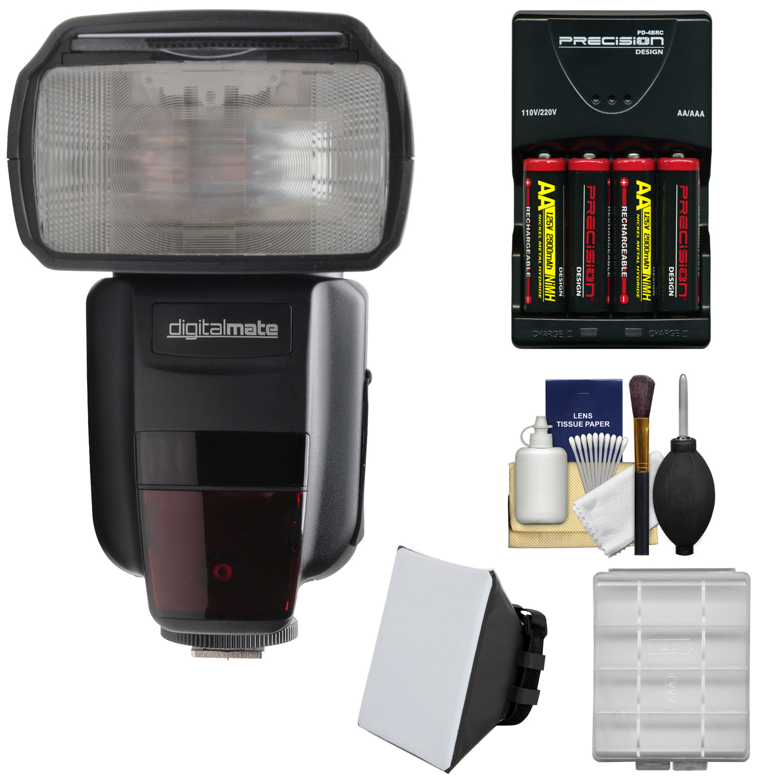 Digitalmate 680 Power Zoom AF I-TTL Flash with LCD Display with Batteries & Charger + Soft Box Kit for Nikon DSLR Cameras