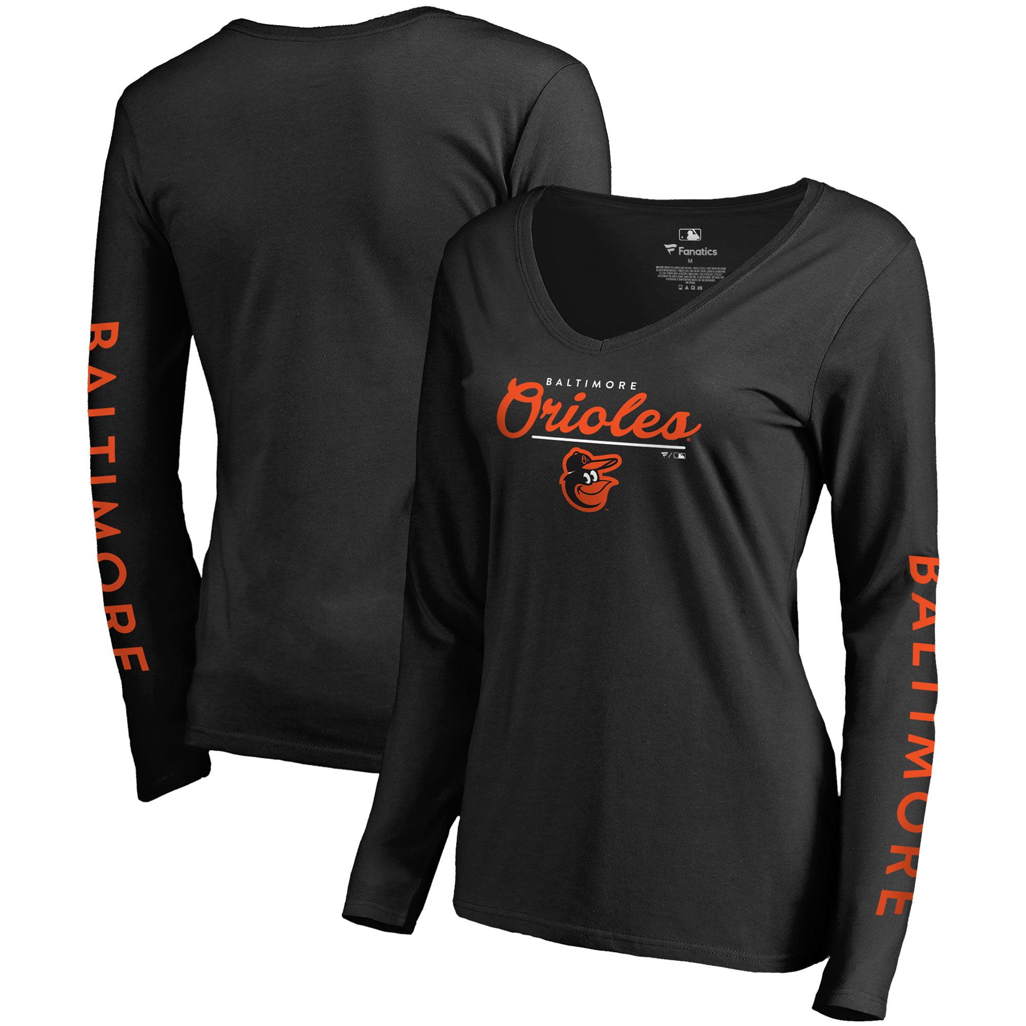 Baltimore Orioles Fanatics Branded Women's High Class Long Sleeve V-Neck T-Shirt - Black