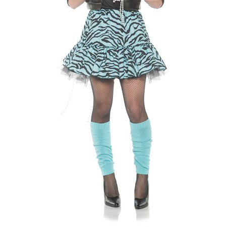 80'S Zebra Womens Adult Blue Black Dance Rocker Costume (80's Rocker Chick Costume)