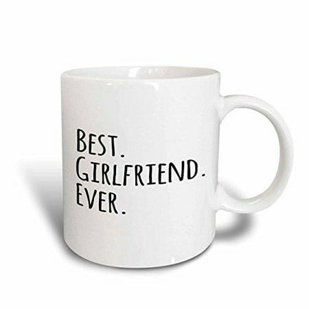 3dRose Best Girlfriend Ever - fun romantic love and dating gifts for her for anniversary or Valentines day, Ceramic Mug,
