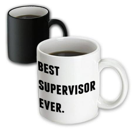 3dRose Best Supervisor Ever, Black Letters On A White Background, Magic Transforming Mug,