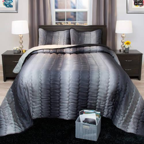 Somerset Striped Metallic Bedspread Set