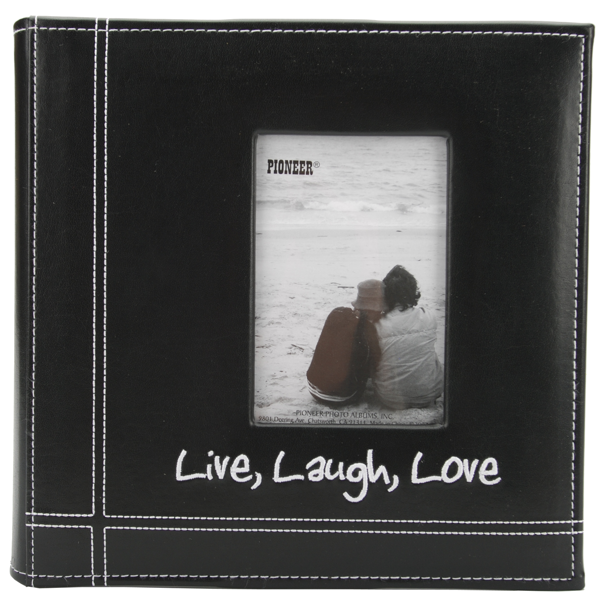 "Pioneer Embroidered Stitched Leatherette Photo Album 9""X9""-Live, Laugh & Love - Black"