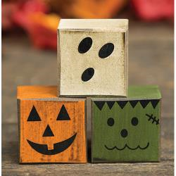 Halloween Wood Blocks (Halloween Boo Friends Wood Blocks - Set of 3 - Pumpkin, Ghost, Frankenstein - Country Prim Rustic)