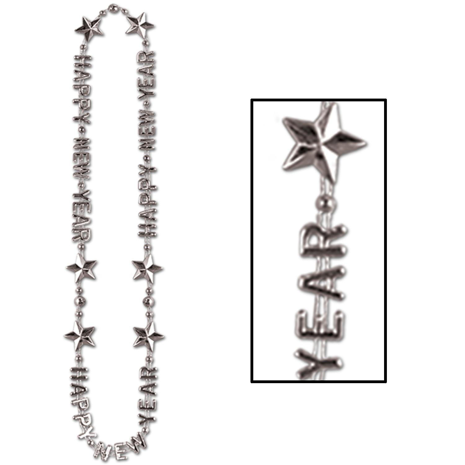 (12ct) Happy New Year Beads-Of-Expression Necklace silver