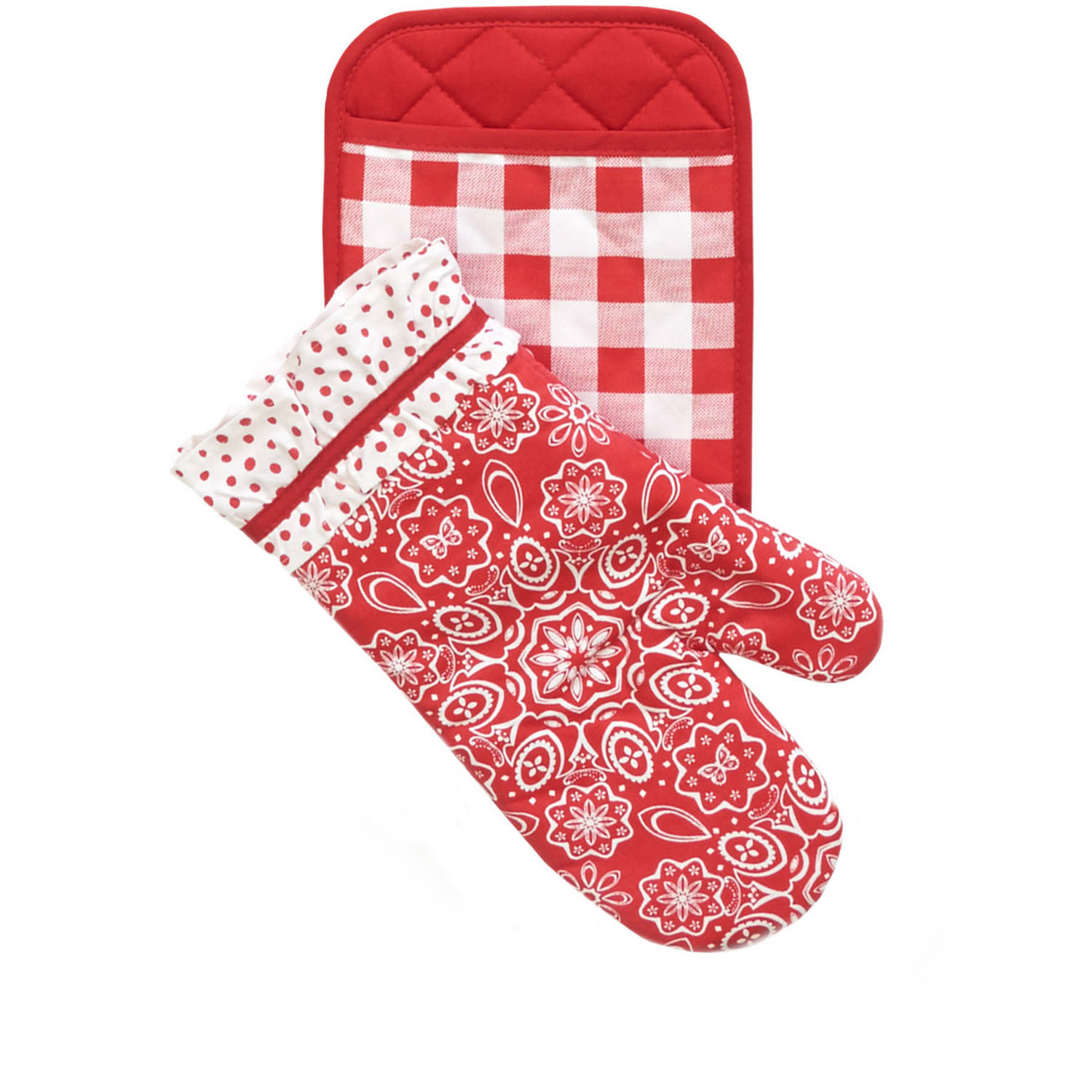 The Pioneer Woman Bandana Pot Holder/Oven Mitt Set, Red