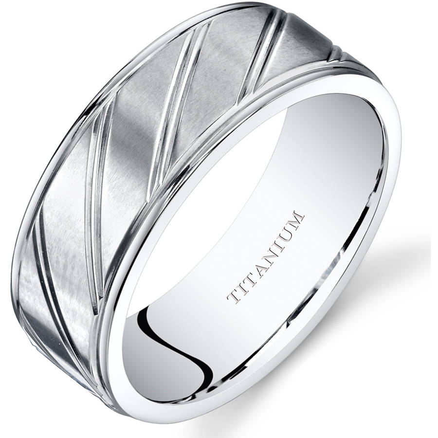 Oravo 8mm Men's Wedding Band Ring in Titanium