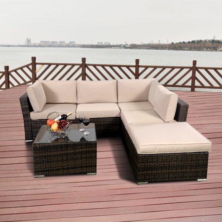 Costway 4PCS Rattan Wicker Cushioned Patio Rattan Furniture Set Sofa 5 Seat Garden Lawn
