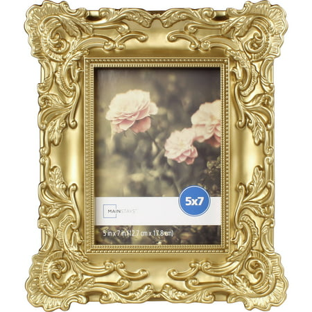 Mainstays 5x7 Baroque Picture Frame, Gold (Christmas Picture Frames 5x7)