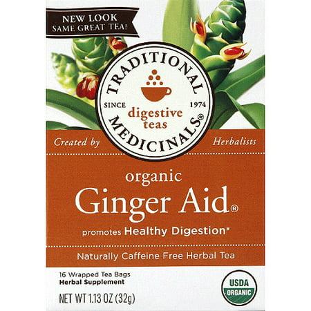 TRADITIONAL MEDICINALS Aide gingembre biologique sans caféine Tisane, 1,13 oz, (pack de 6)