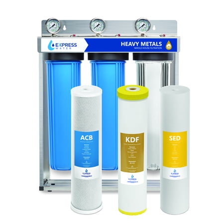 """Express Water Heavy Metal Whole House Water Filter – 3 Stage Home Water Filtration System – Sediment, KDF, Carbon Filters – includes Pressure Gauges, Easy Release, and 1"""" Inch Connections Filtration System Connections"""