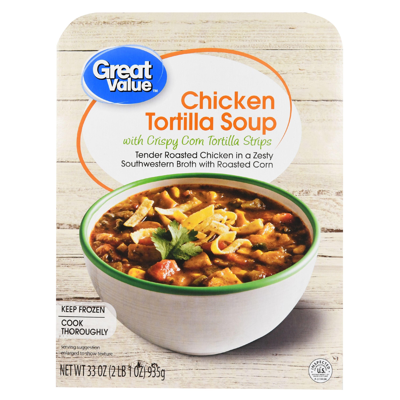 Great Value Chicken Tortilla Soup with Crispy Corn Tortilla Strips, 33 oz