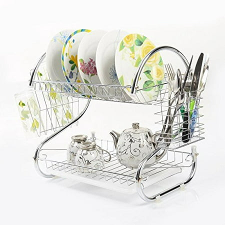 K-Cliffs Dish Drying Rack Kitchen Large 2 Tier Drainer Fit Large Dishes Organized Utensil Holder Mug Dryer With White Draining Tray (Draining Tray)