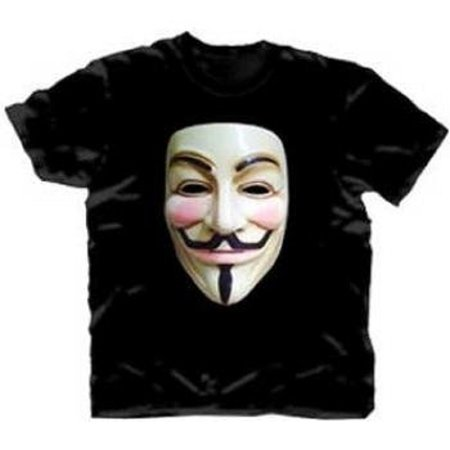 V For Vendetta Photo Real Vendetta Mask Adult Black T-Shirt](Adult Stores Okc)