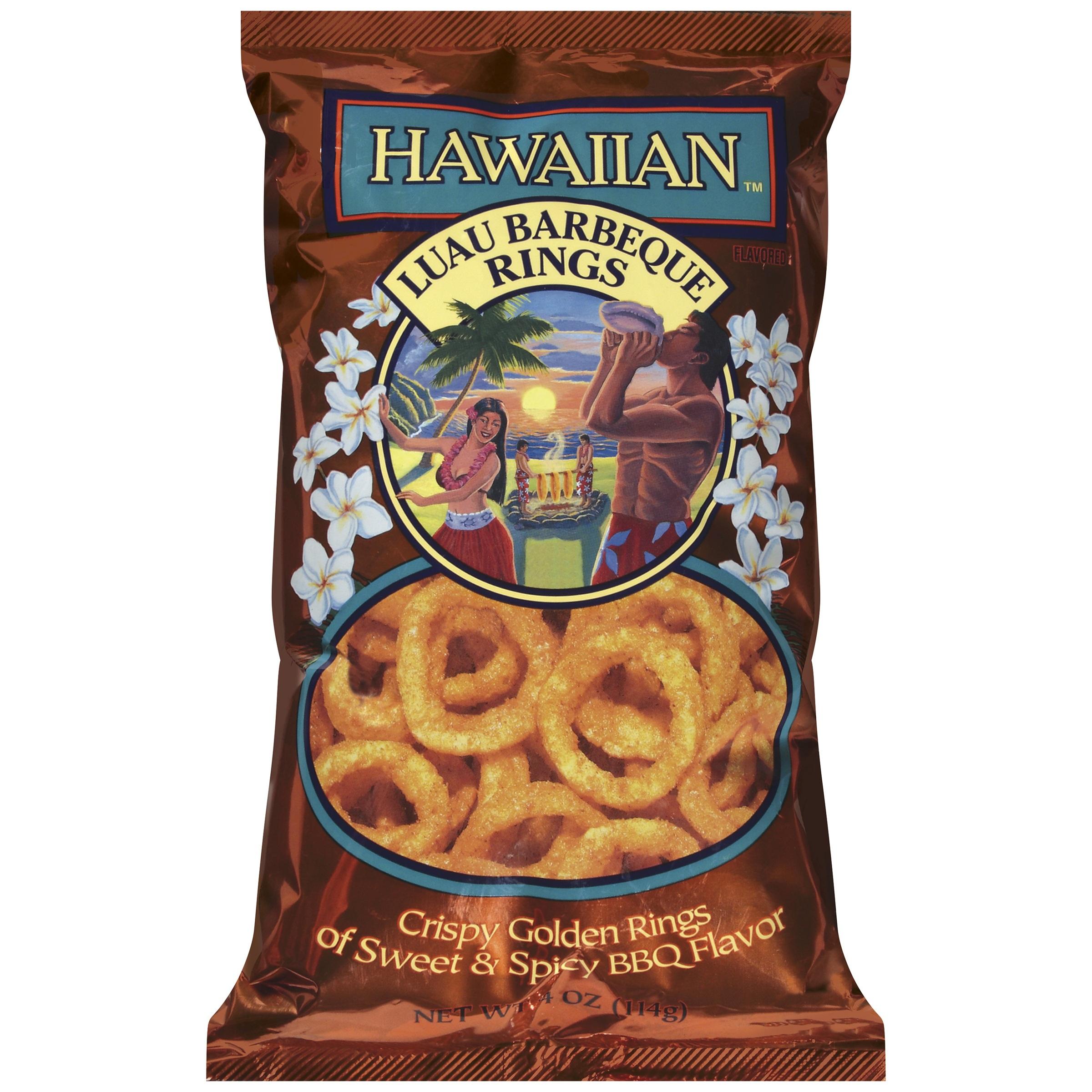 HAWAIIAN™ KETTLE STYLE POTATO CHIPS Luau Barbeque Rings 4 OZ BAG