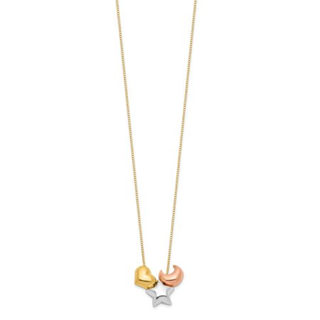 Solid 14k Tri Three Color Gold Heart , Star and Moon Pendant Necklace Charm Chain 16