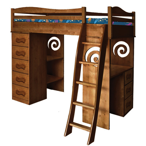 Room Magic Natural Twin Loft Bed with Storage