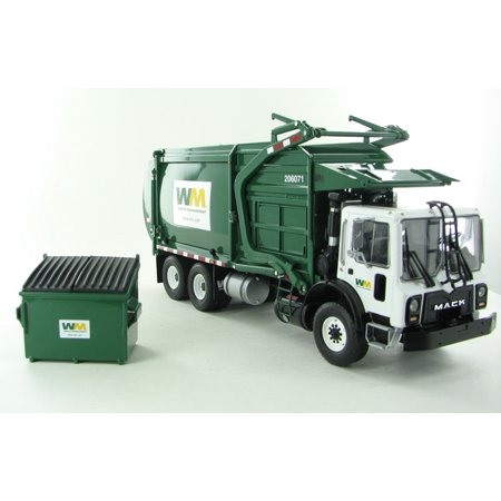 - Mack Waste Management TerraPro Front Load Refuse Garbage Truck with Bin 1/34 Diecast Model by First Gear