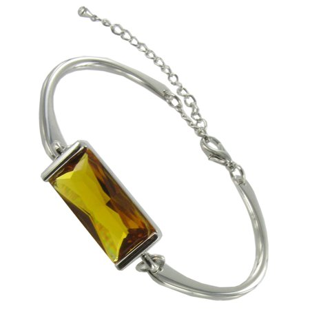 Cuff Gemstone Bracelet - Topaz Crystal Big Jewel Silver Tone Adjustable Cuff Bracelet