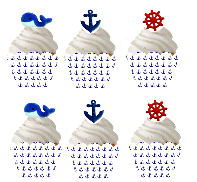 12 Nautical Edible Sugars & 12 Nautical Baking Cupcake Decoration Wrappers