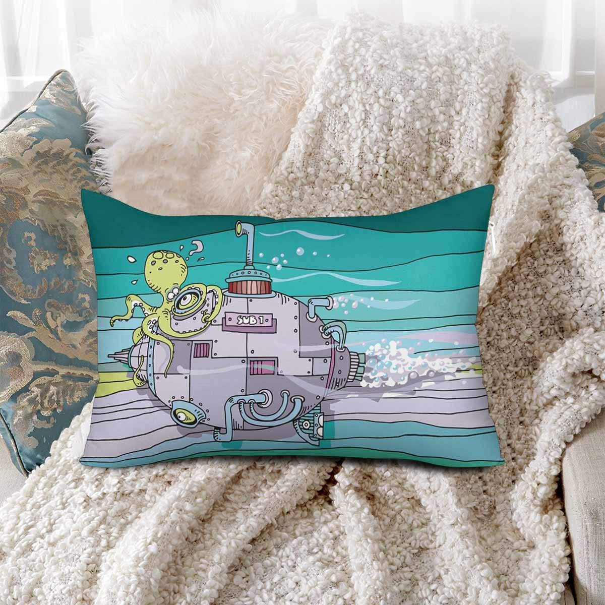 GCKG Cartoon Funny Octopus Squid Submarine Pillow Cases Pillowcase 20x30 inches - image 1 of 4