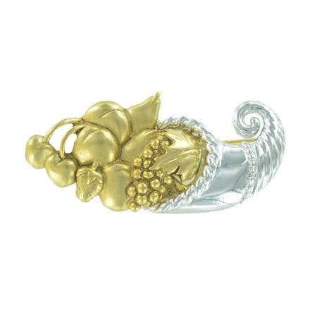 Gold Silver Tone Brooch (Danecraft Gold Silver Tone Cornucopia Basket Horn of Plenty Harvest Pin)