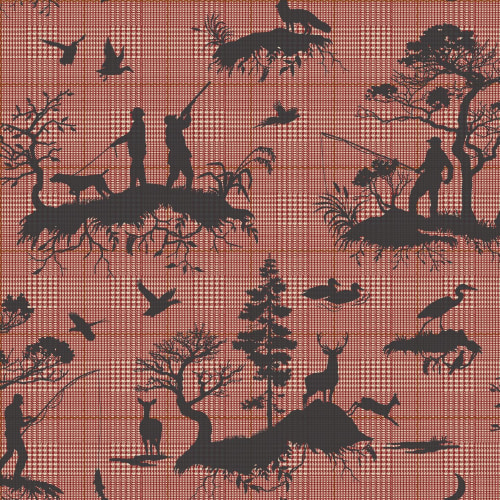 York Wallcoverings HO332-1 Outdoorsmen 56 Sq. Ft. Toile Pre-Pasted Surestrip Wallpaper from the Tailored Collection
