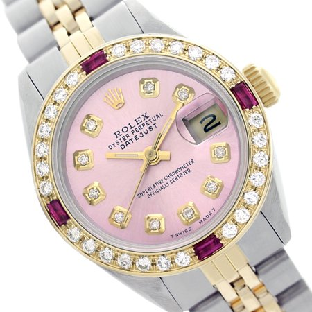 Pre-owned Rolex Ladies Datejust Pink Diamond Dial & Bezel Two Tone 26mm