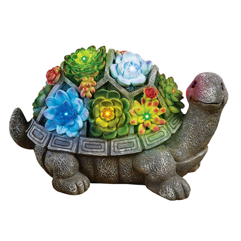Collections Etc. Turtle Garden Statue Solar Lighted Animal Sculpture Decoration