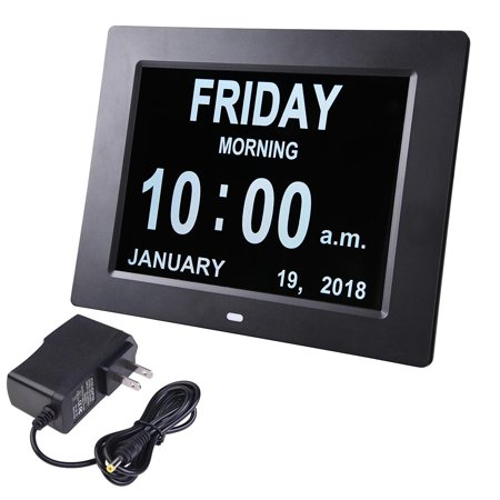 """Yescom 8"""" Large Digital LED Day Clock 6 Alarm Options Dimmable Calendar for Elderly Dementia Home Wall Table Black"""