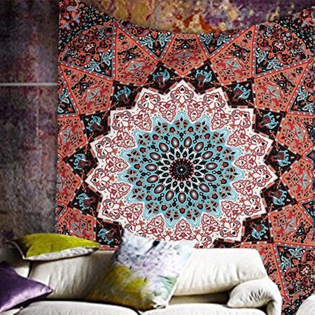 Meigar Indian Star Mandala Psychedelic Tapestry, Hippie Bohemian Wall Hanging Tapestries, Bedspread Bedding Bed Cover, Ethnic Home Decor (Bohemian Stars)